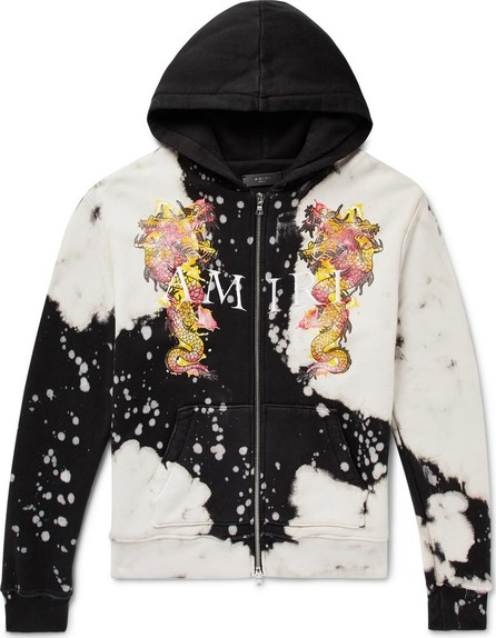 Amiri Logo-Embroidered Printed Loopback Cotton-Jersey Zip-Up Hoodie
