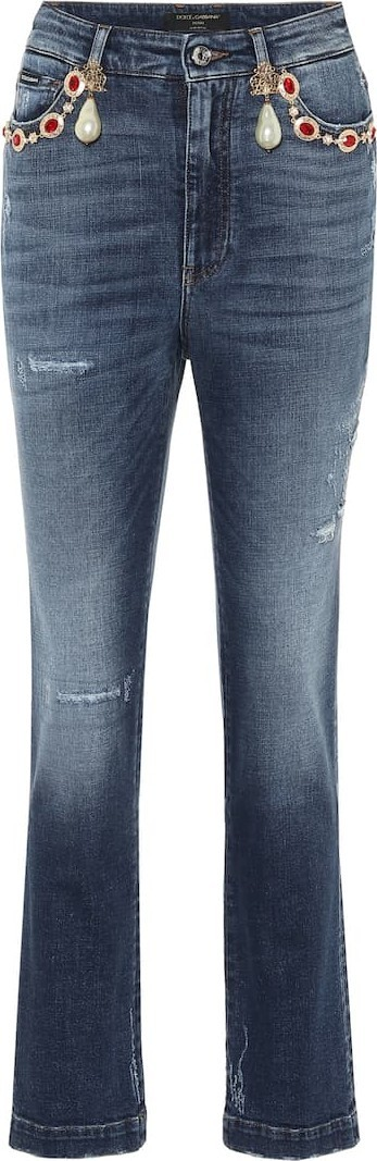 Dolce & Gabbana Embellished high-rise straight jeans