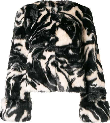 Shrimps Faux fur abstract print coat
