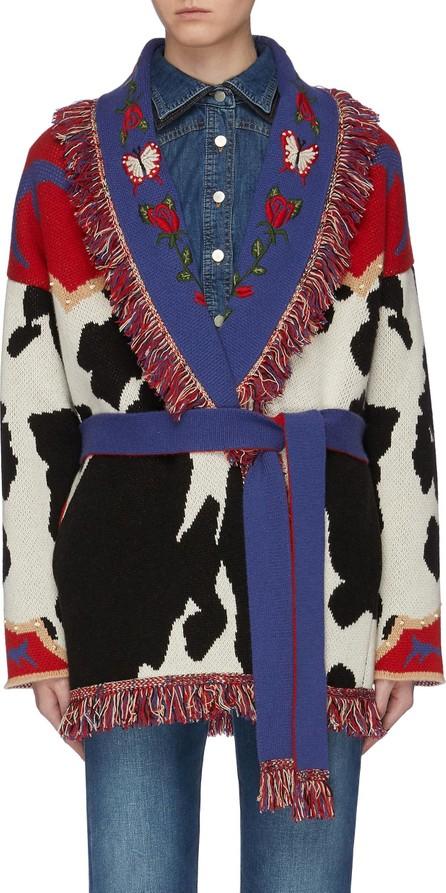 Alanui 'Cow Jacquard' belted fringe oversized cashmere cardigan