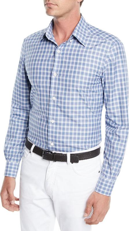 Ermenegildo Zegna Men's Textured Woven Check Sport Shirt