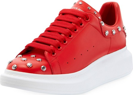 Alexander McQueen Men's Studded Leather Low-Top Sneakers with Oversize Sole