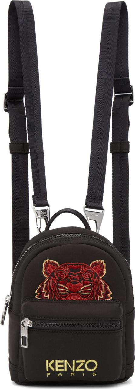 KENZO Black Mini Neoprene Chinese New Year Tiger Backpack