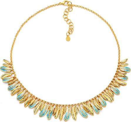 Buddha Mama 20k Gold & Enamel Feather Necklace