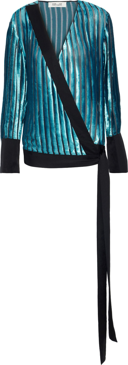 DIANE von FURSTENBERG Satin-trimmed devoré-velvet and chiffon wrap blouse