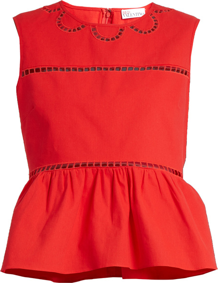 RED Valentino Ladder-lace trimmed cotton top