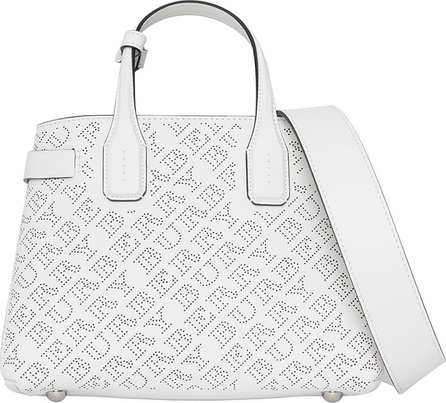 Burberry London England Banner Small Perforated Tote Bag, Chalk White