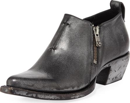 Frye Sacha Metallic Leather Zip Short Booties