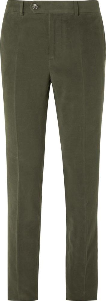 Brunello Cucinelli Dark-Sage Slim-Fit Cotton and Cashmere-Blend Suit Trousers
