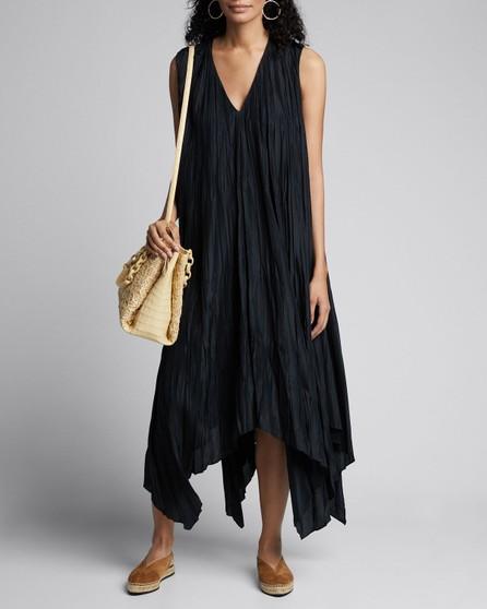Joseph Sleeveless Checker Silk Habotai Midi Handkerchief Dress