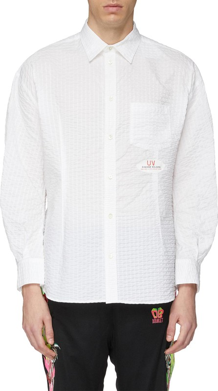 Doublet 'UV Change Colour' slogan print seersucker shirt