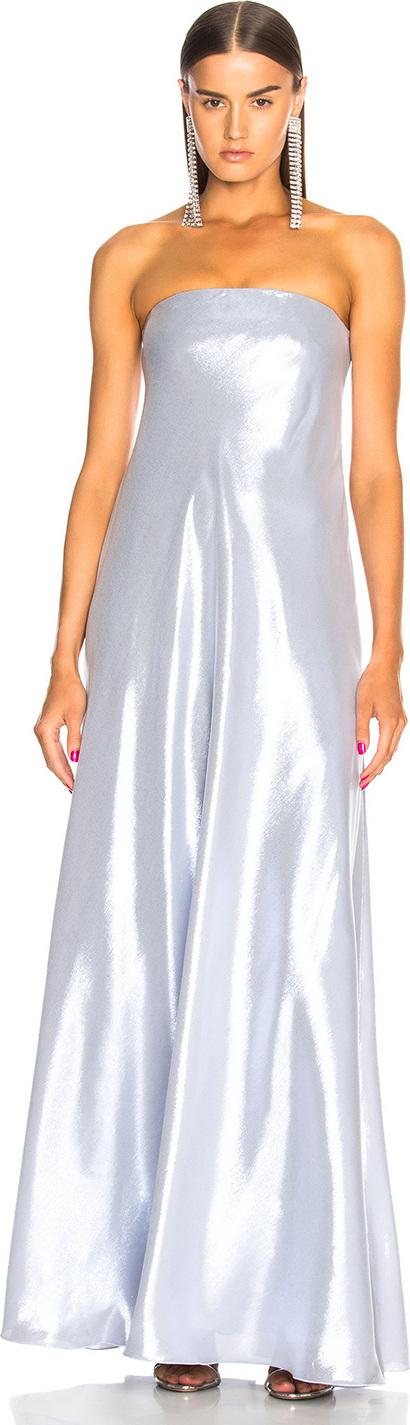 Alberta Ferretti Metallic Strapless Gown