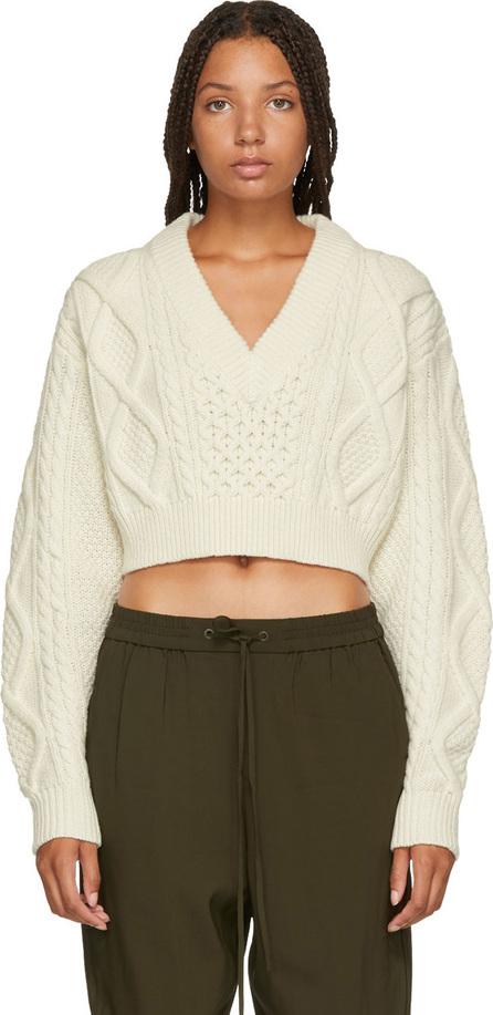 3.1 Phillip Lim White V-Neck Cropped Sweater