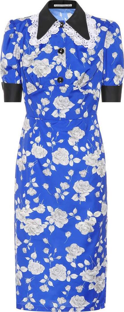 Alessandra Rich Floral-printed taffeta dress