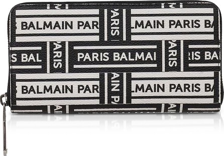 Balmain Black and White Signature Print Coated Canvas Continental Wallet