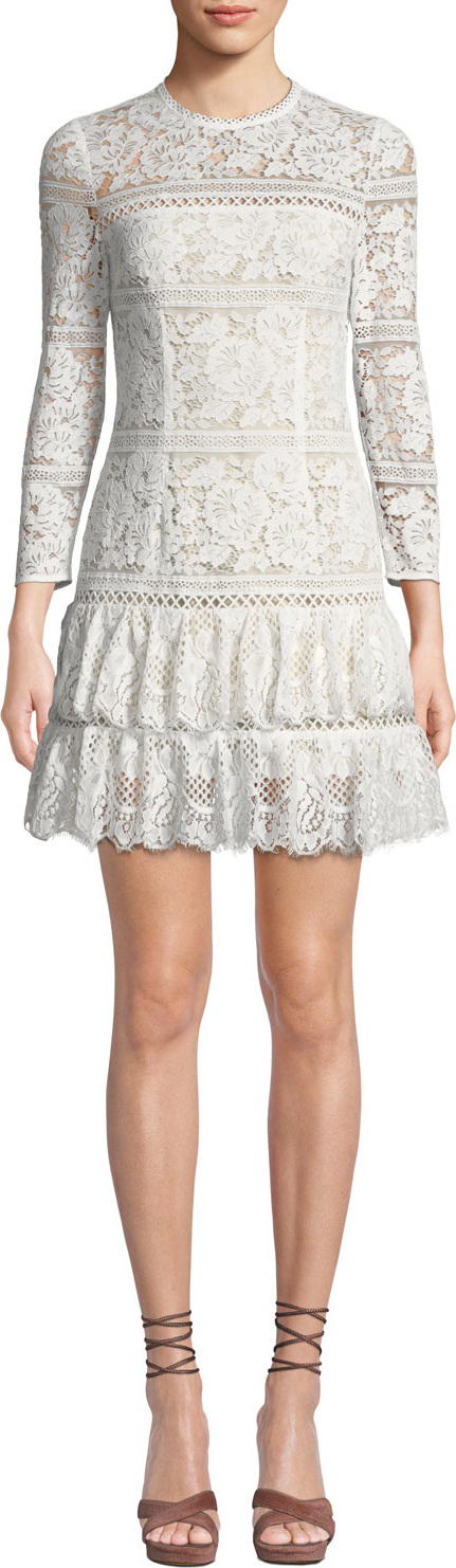 Aijek Melanie Fit-and-Flare Mini Dress in Lace