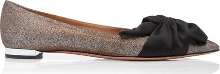 Aquazzura Versailles Bow-Detailed Glittered Satin Ballet Flats