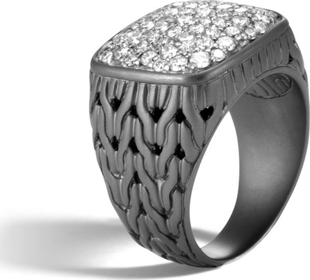 John Hardy Men's Classic Chain Rhodium-Plated Signet Ring with Diamonds