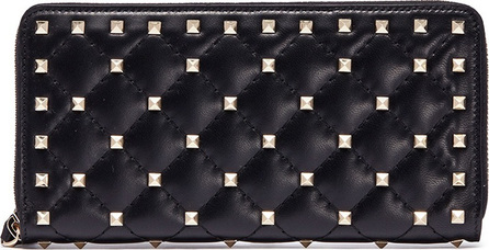 Valentino 'Rockstud Spike' quilted lambskin leather wallet