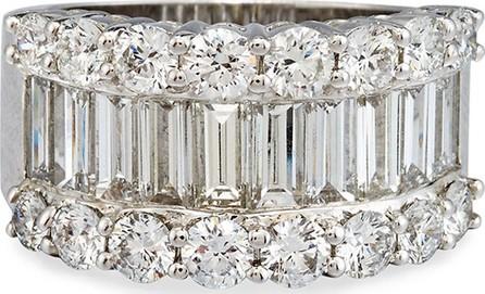 Bessa 18K White Gold Round & Baguette Diamond Ring, 3.88 TDW, Size 6.5