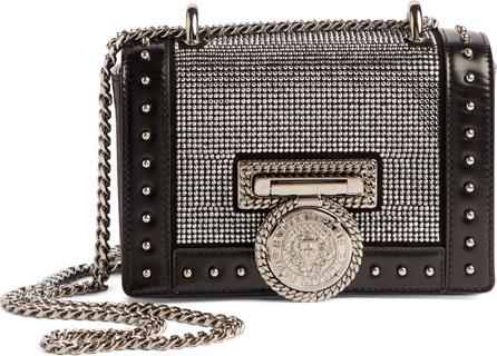 Balmain Baby Box Crystal Embellished Leather Shoulder Bag