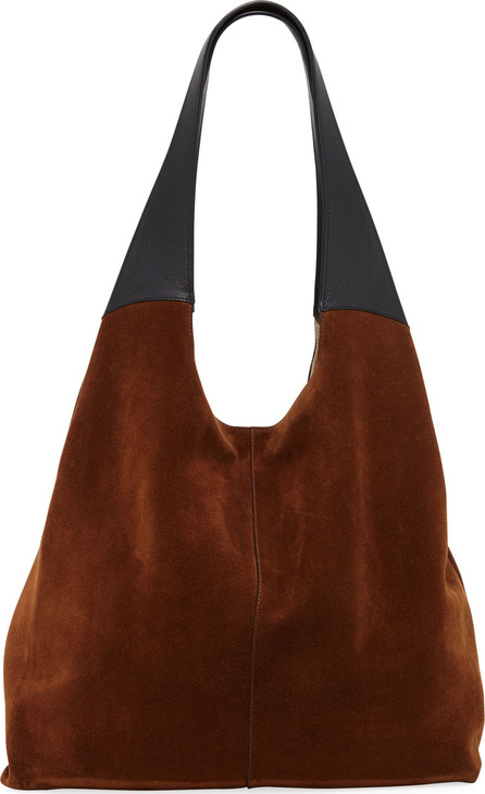 Hayward Grand Shopper Suede Tote Bag, Brown/Black