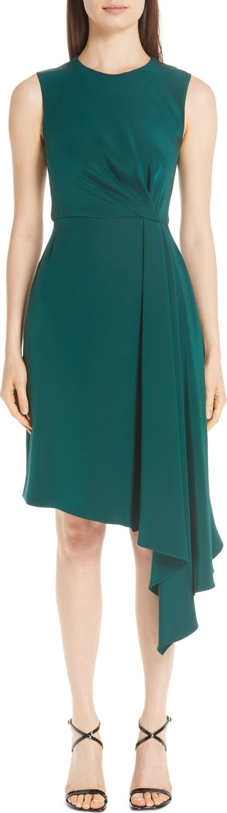 Adam Lippes Silk Crepe Side Drape Dress