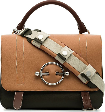 J.W.Anderson Nude, brown and green disc leather satchel bag