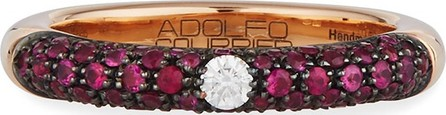Adolfo Courrier 18k Rose Gold Ring w/ Rubies & Diamonds, Size 9.25