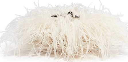 Alexander McQueen Feather overlay leather knuckle clutch