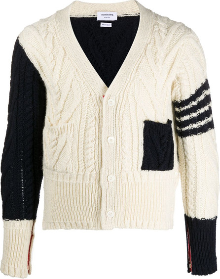 Thom Browne Aran knit v-neck cardigan