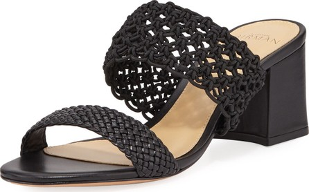 Alexandre Birman Lanny Crochet Leather Slide Sandals  Black
