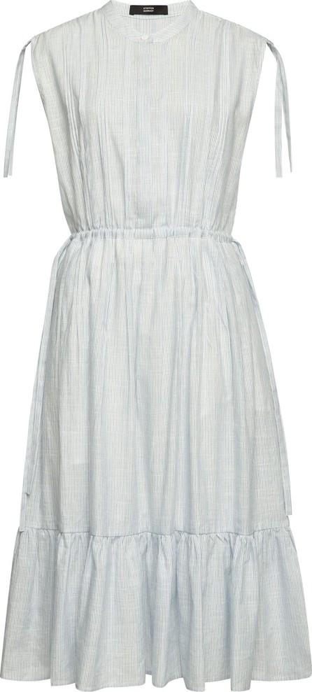 Steffen Schraut Striped Midi Dress in Cotton and Linen