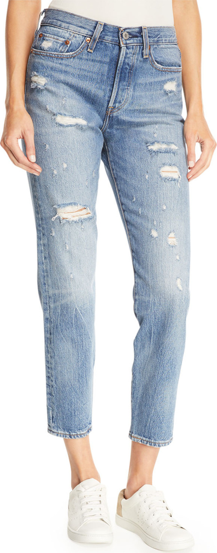 LEVI'S Partner In Crime Wedgie-Icon Fit High-Waist Distressed Tapered-Leg Jeans
