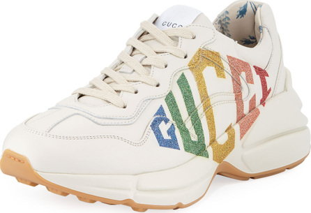 Gucci Rainbow-Logo Leather Sneakers