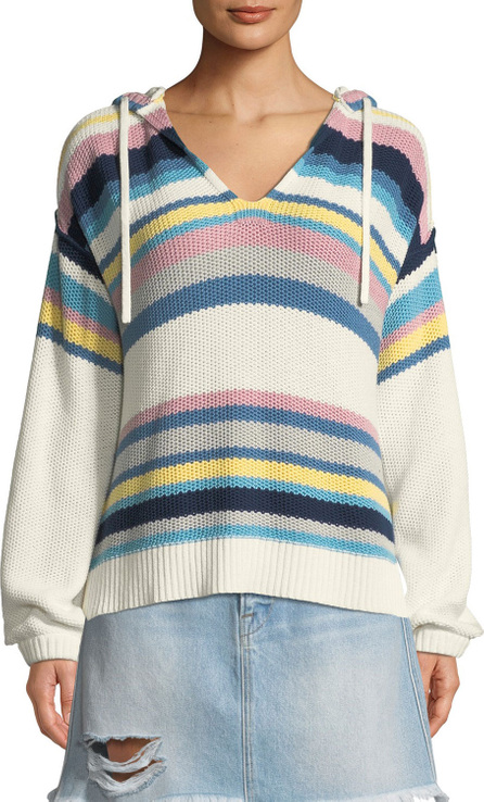 FRAME DENIM Striped Dropped-Shoulder Hooded Sweater
