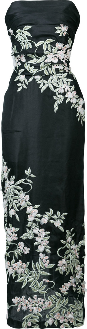 Marchesa Floral-embroidered column gown