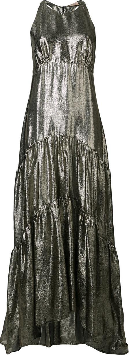 Black Coral Metallic maxi dress