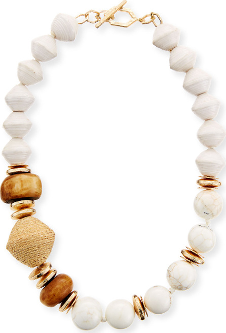 Akola Bone & Raffia Beaded Short Necklace
