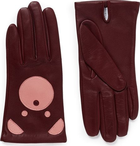 Aristide Bear face lambskin leather gloves