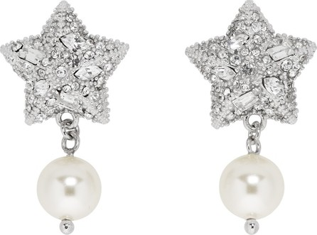 Miu Miu Silver Pearl & Crystal Star Earrings