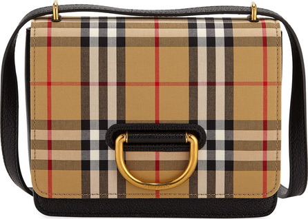 Burberry London England Small D-Ring Check Crossbody Messenger Bag