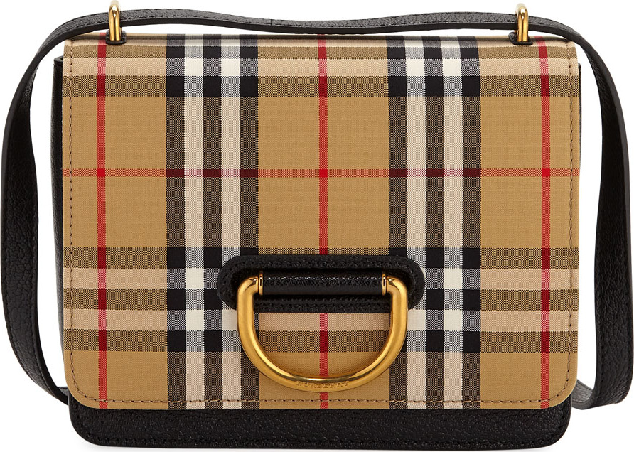 Burberry London England Small D-Ring Check Crossbody Messenger Bag - Mkt 35fafa48611c8