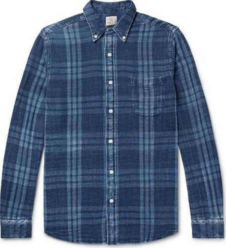 Faherty Button-Down Collar Indigo-Dyed Checked Cotton-Flannel Shirt