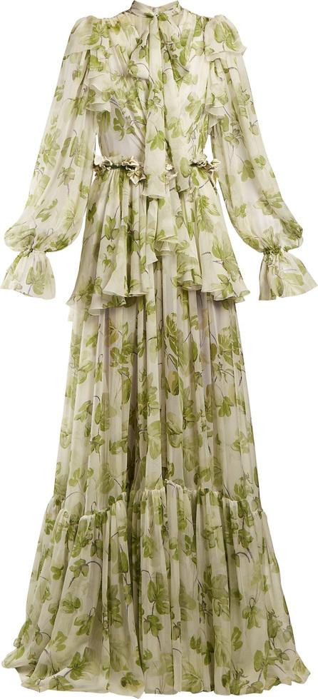 Dolce & Gabbana Leaf-print chiffon gown