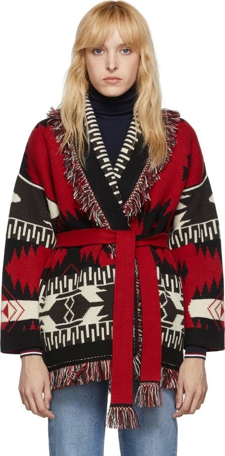 Alanui Red & Black Jacquard Icon Belted Cardigan