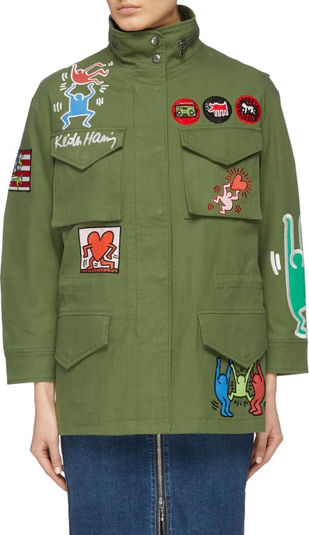 Alice + Olivia x Keith Haring 'Russo' graphic appliqué oversized parka