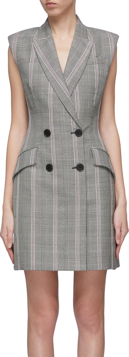 Alexander McQueen Double breasted houndstooth check plaid virgin wool dress