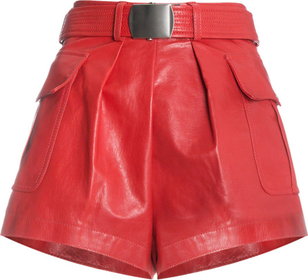 Philosophy Di Lorenzo Serafini Red leather belted shorts