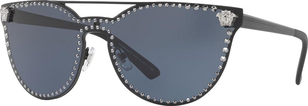 fd82094f579f Versace Studded Flat-Top Wrap Sunglasses in Blue - mkt